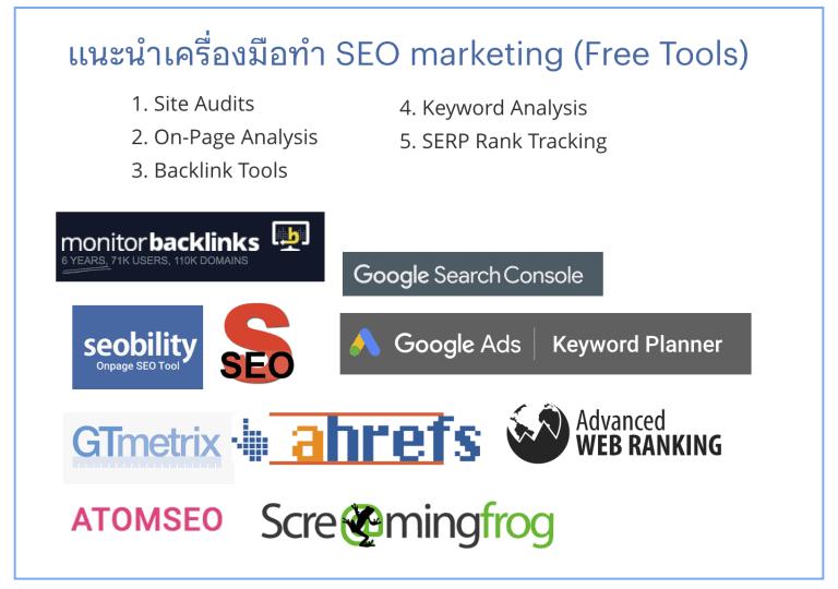5 กลุ่ม SEO tool สำหรับ Search Marketing (เน้นฟรี)