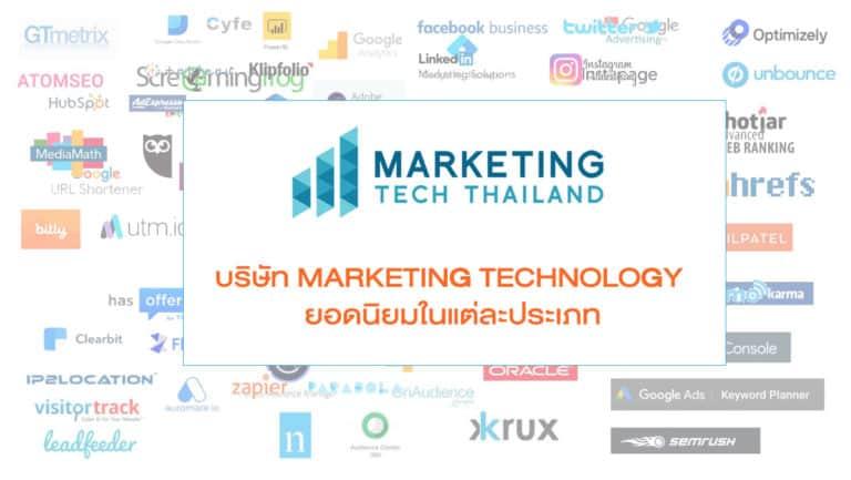 บริษัท Marketing Technology ยอดนิยมในแต่ละประเภท