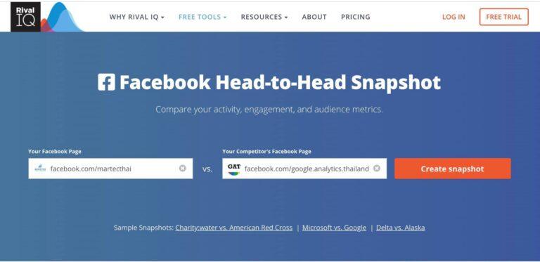 Facebook Page Head-to-Head Snapshot เปรียบเทียบเพจเรากับคู่แข่งฟรีๆโดย RivalIQ